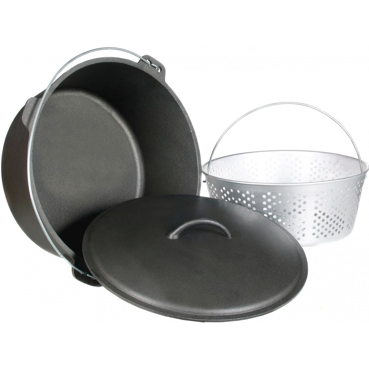 Cajun Cookware Dutch Ovens With Fry Basket 20 Quart Cast Iron Dutch Oven