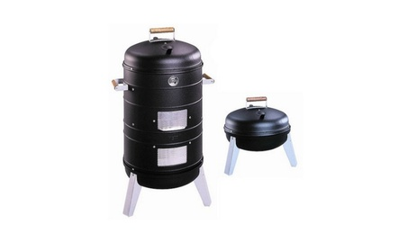 2-in-1 Charcoal Water Smoker with 2 Levels of Smoking and Combination