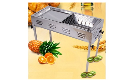 Large Size Portable Picnic Household BBQ Grill Set with Tray & Tongs
