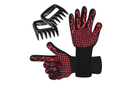 Prumya BBQ Gloves Heat Resistant and Meat Shredder Claws Set