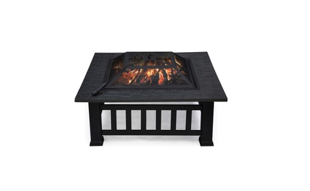 Outdoor Garden Fire Pit BBQ Grill Brazier Square Stove Patio Heater