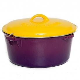 Cajun Cookware 9-Quart Enamel Cast Iron Dutch Oven – Purple & Gold