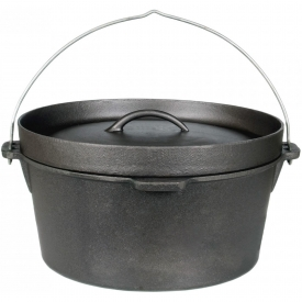 Cajun Cookware Pots Without Legs 4.5 Quart Seasoned Cast Iron Camp Pot